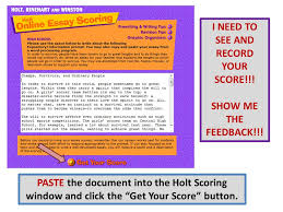 "log in to my hrw com click on ""holt online essay scoring"" ppt  9 paste"