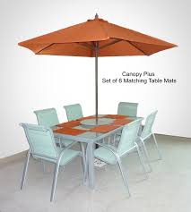 9ft patio umbrella replacement cover canopy 6 ribs terra cotta w set of 6 table mats
