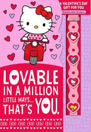 Hello Kitty Lovable You Valentines Day Card With Linkemz Wristband