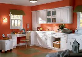 Orange And White Kitchen Kitchen With White Cabinets And Orange Walls Aria Kitchen