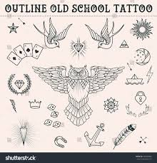 Stock Vektor Old School Tattoo Set Owl Feather Bez Autorských