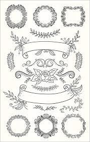 手描き風のかわいいベクター素材花花冠草葉木などを使った飾り