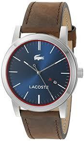 "lacoste men s metro quartz brown leather casual watch model ï"""" ï""…"
