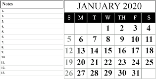 Monthly 2020 Printable Calendar Template