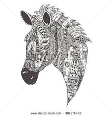 Small Picture Handdrawn Goat Ethnic Floral Doodle Pattern Stock Vector 405982558