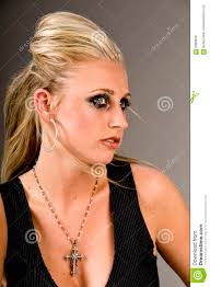 blond with dark edgy makeup