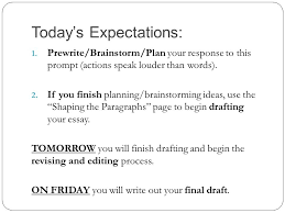 expository essays expository adj serving to expound set forth 36 today s expectations prewrite brainstorm plan your response to this prompt actions speak louder than words