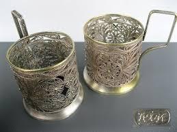 podstakannik set 2 filigree glass holder cup tea brass silvering soviet russian