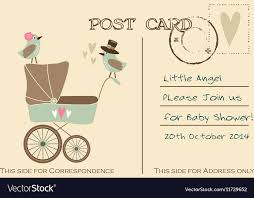 baby postcard vintage cute baby shower greeting postcard vector image