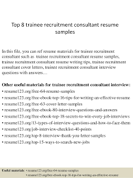 Top Trainee Recruitment Consultant Resume Samples Web Photo Gallery