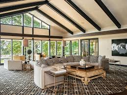 Living Room Bench Seating Dark Wood Coffee Table Wall Mounted Tv Contemporary Family Room