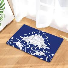 fashion china flower floor mats front door carpets bath mat for bedroom living room blue and white