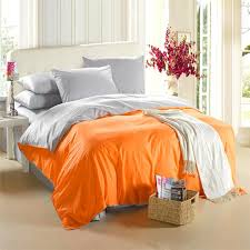 orange silver grey bedding set king size queen quilt doona duvet cover western double bed sheet bedspread bedsheet linen cotton bed in a bag king size