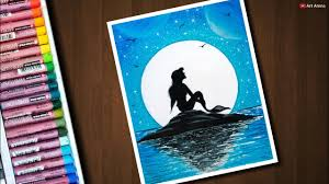Also expressionism drawing easy available at png transparent variant. Mermaid Moonlight Scenery Drawing With Oil Pastels For Beginners Step By Step Youtube