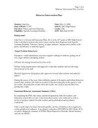 behavior intervention plan template behavior intervention plan example template business