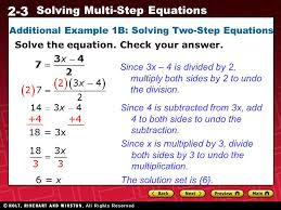2 3 solving multi step equations additional example 1b solving two step