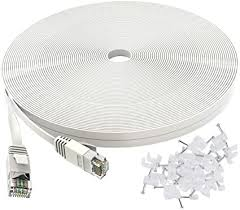 <b>Cat 6</b> Ethernet <b>Cable</b> 50 ft White - <b>Flat</b> Internet Network Lan patch ...