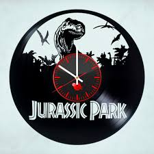 jurassic park handmade vinyl record wall clock fan gift  on wall clock art design with jurassic park handmade vinyl record wall clock fan gift vinyl clocks