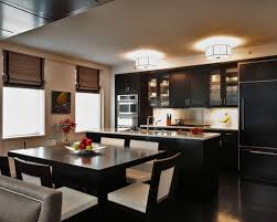 Wonderful Example Of A Trendy Galley Kitchen Design In New York With Glass Front  Cabinets,
