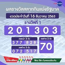 ผลรางวัลสลากกินแบ่งรัฐบาล งวดวันที่ 16 ธันวาคม 2563 - สำนักข่าวไทย อสมท