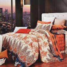 burnt orange brown and beige western paisley park print bohemian chic retro and luxury 100 egyptian cotton full queen size bedding sets
