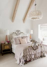 white chic bedroom furniture. Wooden Beam Ceiling And Ornate Black Metal Bed Frame For Shabby Chic Bedroom  Decor White Chic Bedroom Furniture D