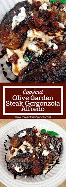 a replication of the olive garden dish balsamic marinated steak tops a creamy parmesan and