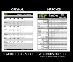 below you will see a side by side parison of the original body beast workout sheets and the new and improved more user friendly version body beast