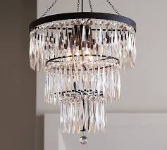 pottery barn light fixtures flush mount adele crystal large chandelier pottery barn