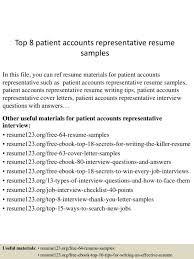 cover letter Account Representative Resumes Nb Fire Top  Patientaccountsrepresentativeresumesamples Lva App Thumbnailaccount representative  resume Medium ...