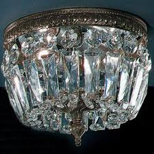 crystal baskets collection 8 dia small brass crystal flush mount ceiling light