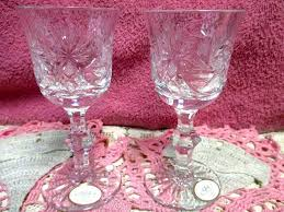 details about ajka crystal goblets clear sherry wine glasses cut bohemian 5 hand made 2 rare