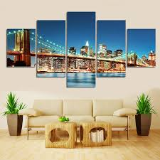 Modern Art Paintings For Living Room Aliexpresscom Buy 5pcsno Framecity Road Landscape Canvas Art