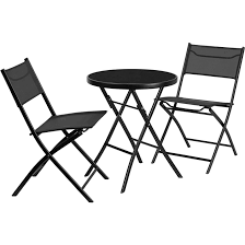 black metal outdoor furniture. Fine Outdoor Metal Outdoor Table With 2 Folding Chairs Intended Black Furniture