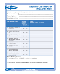 interview assessment form template employee evaluation form example 13 free word pdf documents