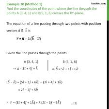 example 30 find point where line crosses the xy plane point with lines