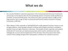 what does extensive experience mean restructuring insolvency and turnaround services presentation