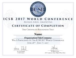 Certificate Certificates The 24 ICSB World Conference 16