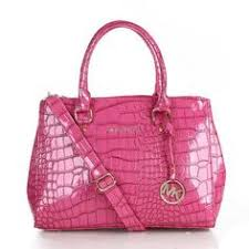 Michael Kors Sutton Python Pattern Embossed Medium Pink Satchels