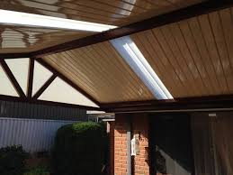 gable patio with centenary roofing panel in a high gloss cream finish