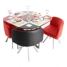 glass dining table sets india. retro round compact dining table small space - 4 seater glass sets india o