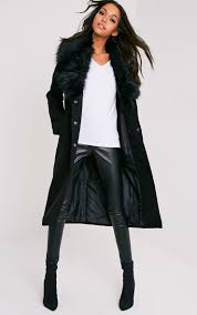 womens clothing coats jackets black faux fur collar double ted coat tpbr2979 clearance on