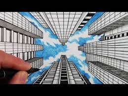 perspective drawings of buildings. How To Draw 1-Point Perspective: Buildings And Sky Perspective Drawings Of