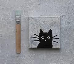 black cat abstract painting encaustic cat painting mixed a grey 4x4 contemporary art acrylic painting usa impasto painting