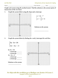 graphing to solve systems of equations worksheet them and try to solve