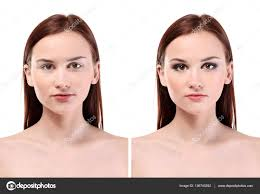 woman face before and after professional makeup application white background beauty concept photo by belchonock