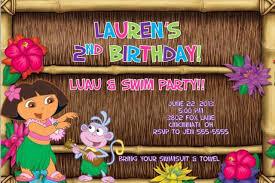 Hawaiian Pool Party Invitations Dora Luau Pool Swim Birthday Party Invitation Summer Outing Photo Or