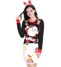 V28 Christmas Sweater Lighting Dresses Dress- Women Girls Ugly Santa Knit Xmas