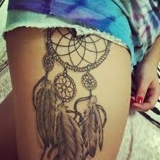 Simple Dream Catcher Tattoos Women Show Simple Dream Catcher Tattoo Make On Side Thigh 90