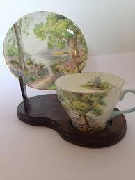 Fine China Display Stands 100's Shelly China Woodland Pattern Cup Saucer And Wood Display 47